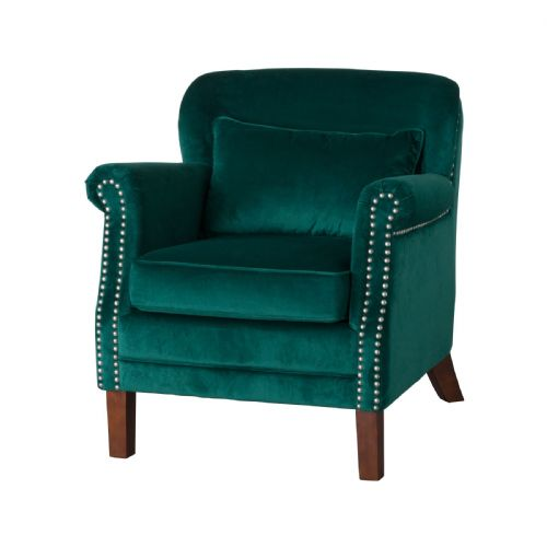 Dark Green Velvet Armchair - Emerald Green Club Armchair with studs